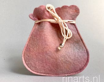 Drawstring bag / drawstring pouch / drawstring purse in salmon pink and touches of blue hand dyed wool felt. Gift under 10.