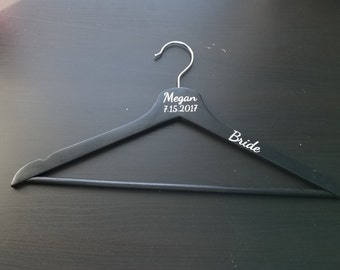 Set of 9 Personalized Bride, Bridesmaid, Maid of Honor, Bridal Party, Personalized Hanger,  Wooden Hanger in Black, White or Natural
