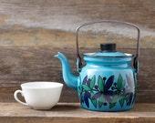 Vintage Finel Turquoise / Blue  Enamel Tea Pot - Arabia Finland