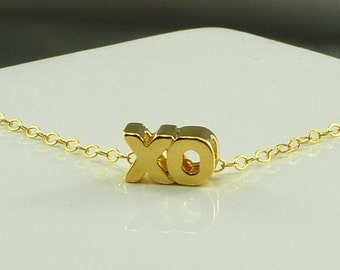 XO Hugs & Kisses Charm Necklace Gold Filled Chain Girlfriend Gift - Handmade Summer Fashion