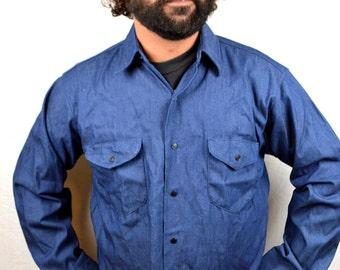 Vintage 1970s Osh Kosh Snap Up Denim Button Up Shirt
