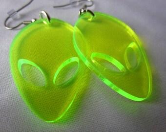 Alien earrings - neon green dangle -  laser cut acrylic