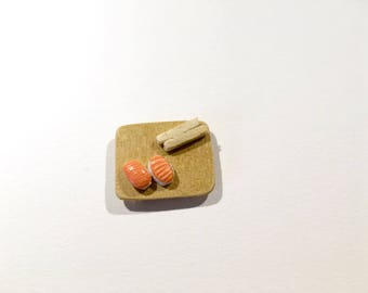 Set of two miniature polymer clay salmon sushi