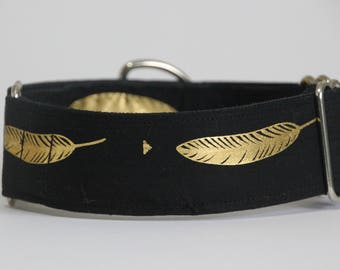 "Whippet - Gold leaf on black 1.5"" Martingale Collar"