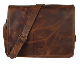 15 Inch Genuine Leather Handmade Vintage Rustic Crossbody Messenger Satchel Bag Gift Men Women Father's Day Gift Gift For Dad