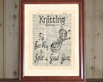 Knitting Dictionary Print, Gift for Knitters, Knitting Quote, Knitting Wall Sign, Knitting Print, Knitter Wall Art, Knitting Decor, 5x7/8x10
