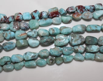 "THE VAULT: 16"" Strand of Smooth Larimar Nuggets #19"