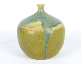 FAST FREE Shipping Vintage Mid-Century Modern Blue Drip Glaze Pottery Bottle Vessel - Signed