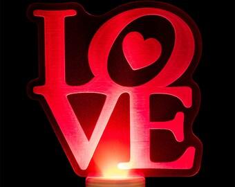 Love Night Light - Valentine Nightlight - LOVE Heart Night Light - Laser Engraved Acrylic LED Light
