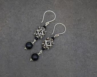 Sterling silver earrings, sterling silver gemstone bead earring, sterling silver dangle earring, black onyx earrings, semi precious earrings