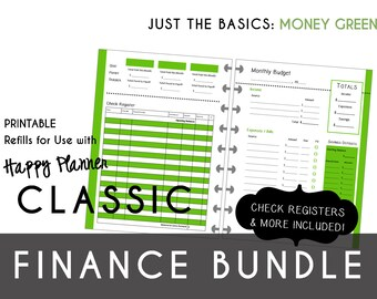 CLASSIC Happy Planner FINANCE Bundle  Check Register, Monthly Budget, Debt Payoff Tracker, Debtor Contacts Passwords Printable PDF Green