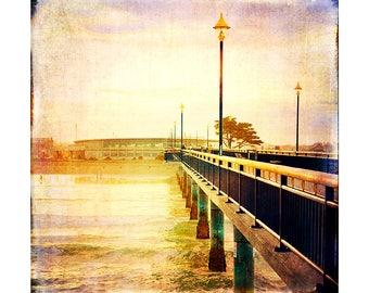 Art Print: Pier photography wall art. Texture, photo, beach, library, water, grunge, sunset, sand, fine art