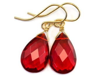 Red Ruby Earrings Pear Shaped Simulated Teardrop Dangle faceted Sterling Silver or 14k Gold Filled Red Quartzite Puffed Shape Simple