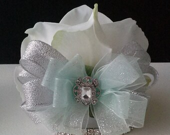 White Real Touch Rose Wrist Corsage-White and Silver Corsage-Mint Green Corsage-Prom Corsage-Homecoming Corsage