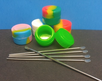 Silicone non-stick round jars with wax dabbers 10pcs