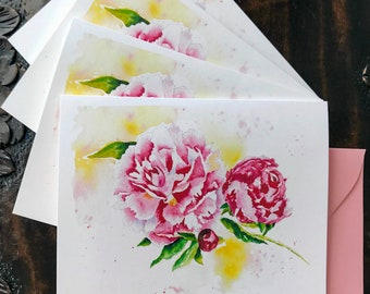 Peony Cards Set of 4, Floral Stationery, Watercolor, All occasion