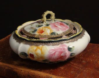 Antique Nippon Hand Painted Covered Bowl - Rose Design - Raised Gold Relief