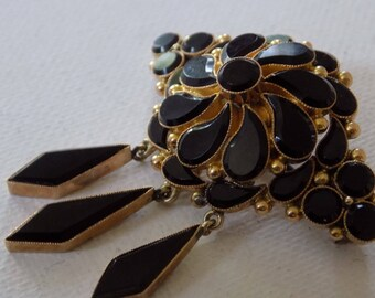 Antique brooch, 1800's Victorian onyx and gold mourning brooch with dangles and watch hook, collectible jewelry