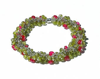 Vesuvianite & Magenta Quartz Cluster Bracelet / Sterling Silver / Wire Wrapped / Gemstone / Olive Green / Hopt Pink / OOAK