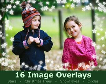 Christmas Overlay - Photoshop Overlay - 16 Border Frame Overlays -  Stars, Snow, Snowflake, Christmas Tree