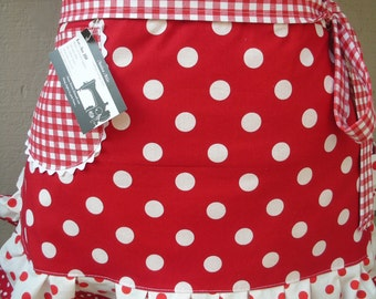 Red Aprons - Womens I Love Lucy Half Aprons - I Love Lucy Apron - Red and White Dot Aprons - Bridal Shower Gifts - Annies Attic Aprons