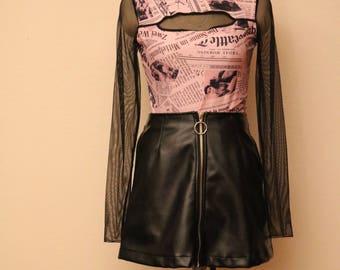 club kid pink and black mesh top