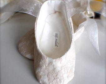 Blush Lace Ballet Slippers - Flower Girl Shoes - Baby and Toddler Girl  - Christening - Baptism