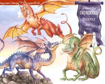 Dragons Clipart, Digital Watercolor Illustration, Fantasy Clip Art, Hand-painted, Realistic Dragon Stock Illustration, Commercial use
