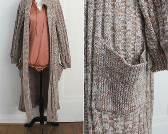 70s oatmeal heather oversized duster knit sweater, XS-M