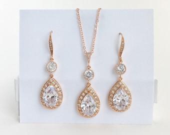 Rose Gold Bridal Set Rose Gold Cubic Zirconia Set Rose Gold Crystal Set Rose Gold Bridesmaid Jewelry Set Rose Gold Wedding Jewelry Set
