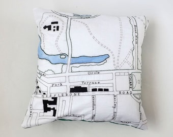 Victorian London Baker Street and Marylebone Embroidered Vintage Map Cushion Cover, with Green Backing, 40cm or 50cm.