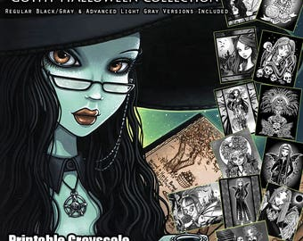 Set 7 - Grayscale Download Coloring Book - Gothy Halloween Collection - Halloween Coloring Book - Coloring Pages - Witch - Skulls - Pumkins
