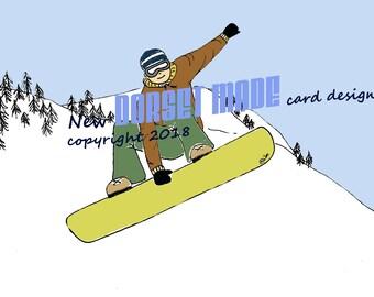 Snowboard/ snowboarding gift/ snowboard art/ snowboard card/ snowboarder/ son birthday card/16th birthday / 18th birthday/ congratulations