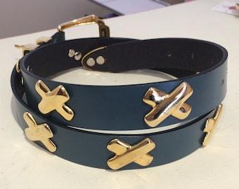 Cute Retro 80s Gold Cross Blue Leather Belt / Medium Large / Vintage Belt