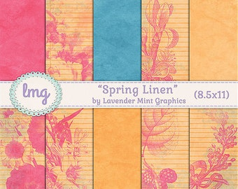 "Spring Digital Journal Paper - ""Spring Linen"" - Junk Journal Paper, Scrapbooking, Vintage Journal Paper, Shabby Chic, Instant Download, CU"