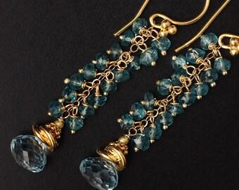 Swiss Blue Topaz Earrings London Blue Topaz Earrings Silver Earrings Blue Earrings Long Earrings Gemstone Earrings Cluster Earrings Dainty