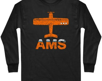 LS Fly Amsterdam Tee - Long Sleeve AMS Schiphol Airport T-shirt - Men and Kids - S M L XL 2x 3x 4x - 3 Colors
