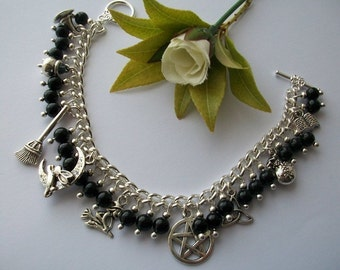 The Craft - Witches charm bracelet. Pagan witch themed. With black onyx gemstone beads