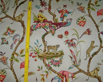SCALAMANDRE CHINOISE EXOTIQUE Chinoiserie Toile Fabric 10 yards Cream Ecru / Multi