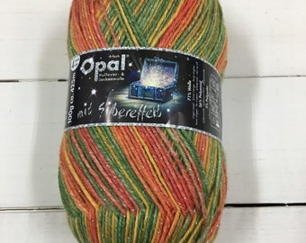 Sockyarn silver effect Lucky from Opal 4ply yarn in orange yellow lime green and melon colours shade Nr. 9480