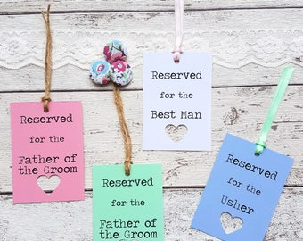 13 Rustic Wedding Reserved Sign Tags Personalised. 21 Colour Options, with Heart Cut Out Detail. Lace, Twine or Ribbon. Kraft Wedding Sign