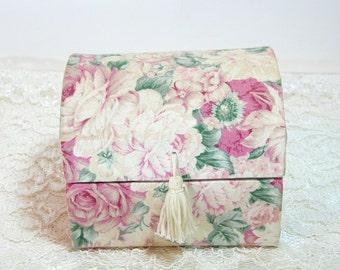 Mini Fabric Jewelry Trunk, Jewelry Box, Romantic, Floral, Shabby