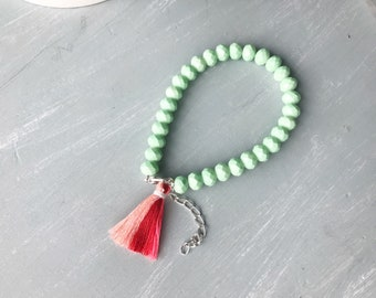 mint and coral tassel layering bracelet