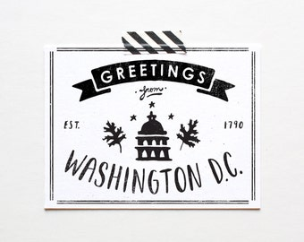 Screenprinted Washington D.C. Postcard