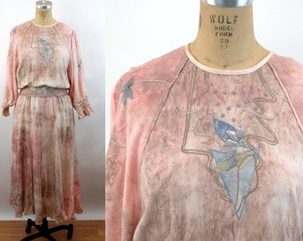 1980s dress tie dye pink brown blue embroidered appliqued abstract slouchy over sized Size M/L Marc D'Arcy