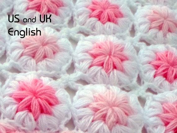 Patrón de Crochet de Manta de bebé Flores en las