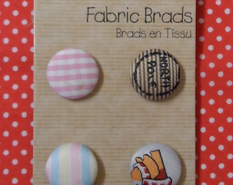 Special Delivery 6 Fabric Brads Approx. 16mm