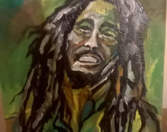 Abstract Painting of the iconic Reggae Master BOB MARLEY by Portland, OR artist Joseph Cardinal