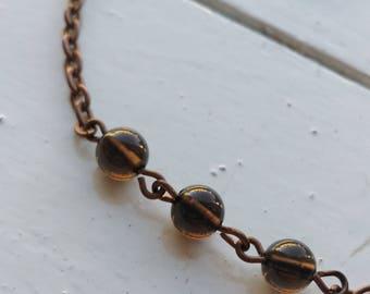 Smoky Quartz Trio with Copper Chain Necklace