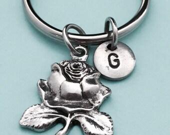 Rose keychain, rose charm, flower keychain, personalized keychain, initial keychain, customized keychain, monogram
